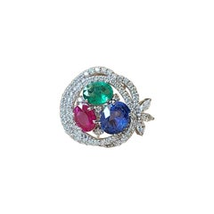 "18k Gold, Natural Blue Sapphire, Emerald, Ruby & Diamonds ""Nest"" Cocktail Ring"