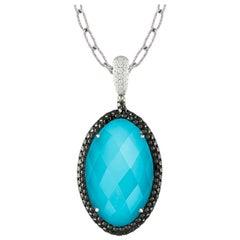 18K Gold Necklace w/Oval White Topaz, Arizona Turquoise, Black & White Diamonds