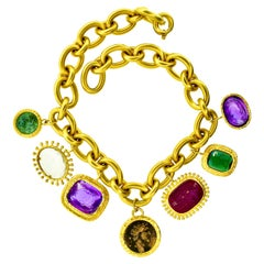 18k Gold Necklace with Intaglio Seals and Ancient Coins, circa 1970