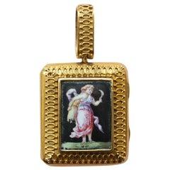18 Karat Gold Neoclassical Locket with Demeter