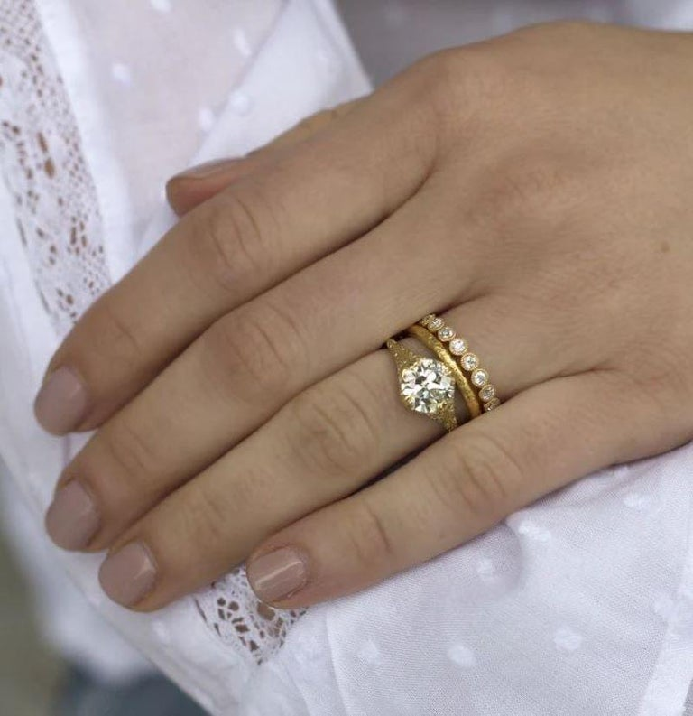 1.00 Carat Old European Cut Diamonds Set in a Handcrafted Gold Eternity Band In New Condition For Sale In Los Angeles, CA