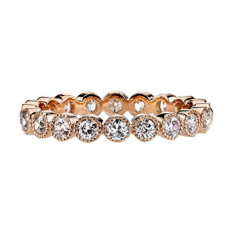 1.00 Carat Old European Cut Diamonds Set in a Handcrafted Gold Eternity Band For Sale