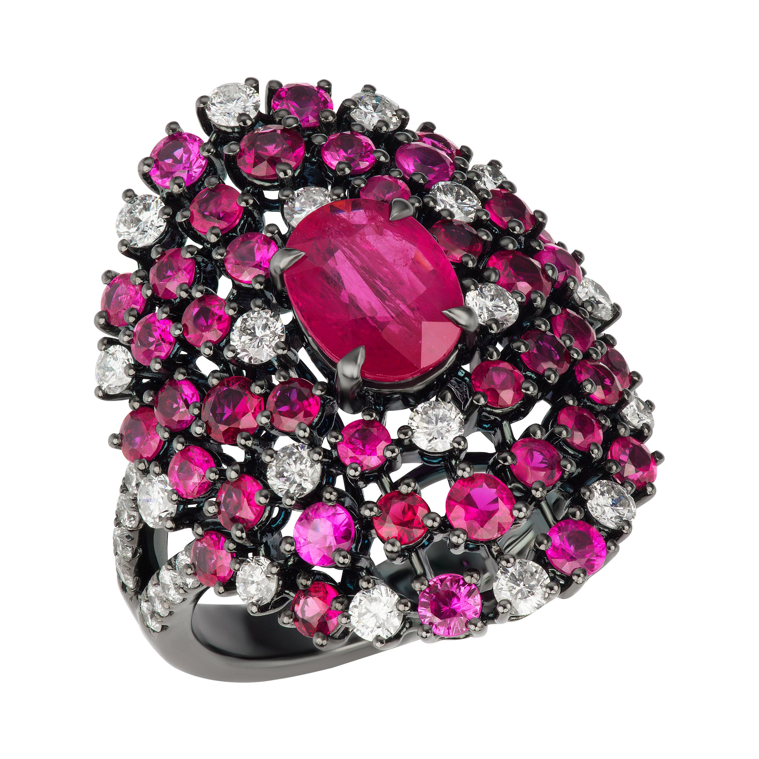 18K Gold Oval Ruby and Diamond Ring with Black Rhodium