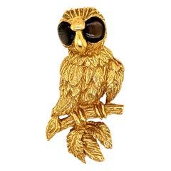 18K Gold Owl Brooch Pin