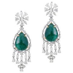 Cabochon Emerald Diamond Rose Cut Diamond Earrings