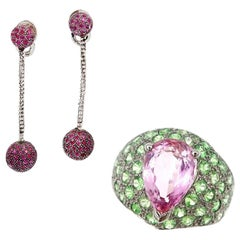 18K Gold Pear Shaped Pink Tourmaline Tsavorite Ring and Pink Sapphire Earrings