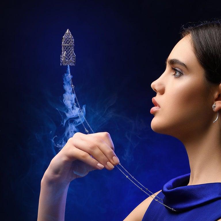 Women's or Men's Sybarite Jewellery 4.16 Carat Briolette Cut Diamond Pendant 18 Karat Gold For Sale
