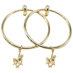Dangling Monkey Hoop Earring Gold Plated Brass statement Animal J Dauphin
