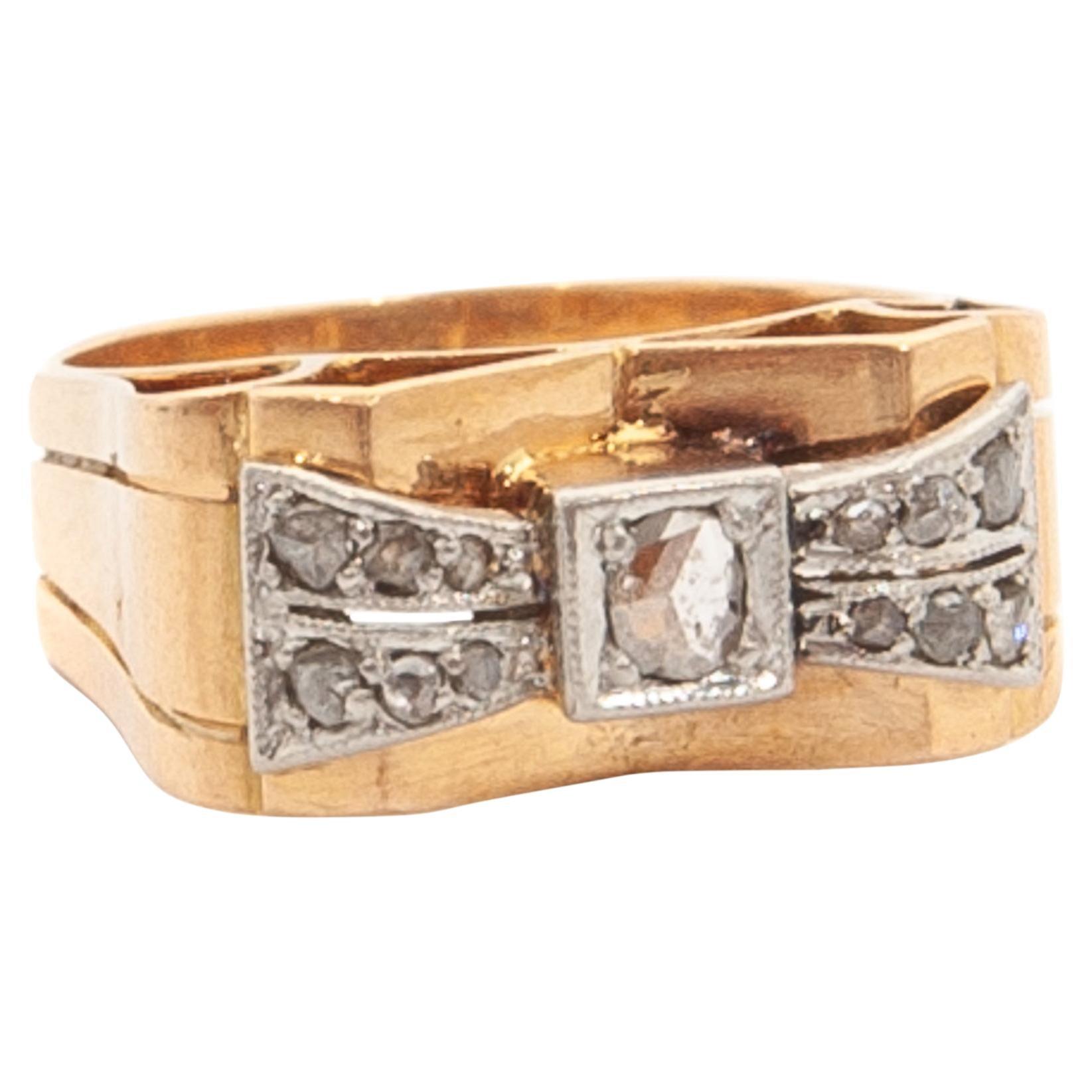 18k Gold Platinum Diamond Bow Tank Ring