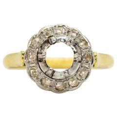 18 Karat Gold and Platinum Diamonds Semi Mounting Ring
