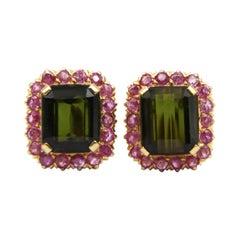 18k Gold Pure Green Tourmaline Pink Sapphire Earring