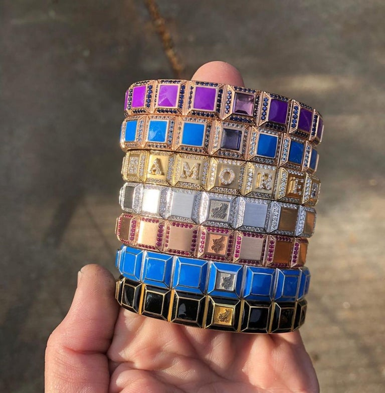 Contemporary 18 Karat Gold Purple Enamel Carousel Bracelet For Sale