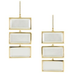 18K Gold Rectangle Drop Earrings with White Mother of Pearl, Quartz and Diamonds