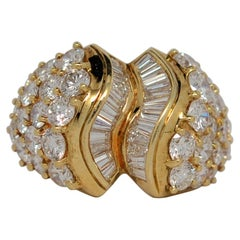18K Gold Ribbon Ring with Baguette & Round Brilliant Cut Diamonds, 5.17 Carats