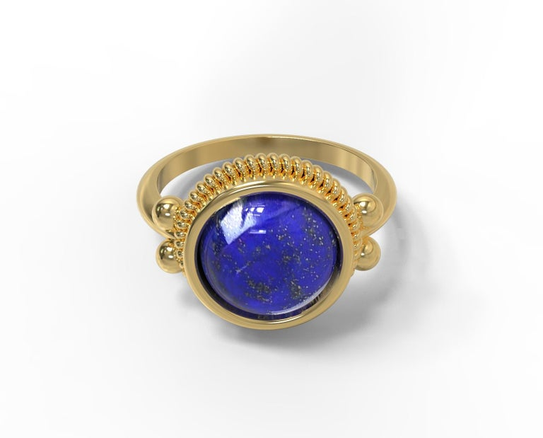 Classical Roman 22 Karat Gold Ring with Cabochon Stone, Romae Jewelry Inspired, Ancient Examples For Sale