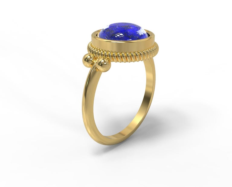 22 Karat Gold Ring with Cabochon Stone, Romae Jewelry Inspired, Ancient Examples In New Condition For Sale In Brooklyn, NY