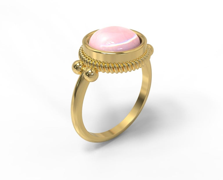 22 Karat Gold Ring with Cabochon Stone, Romae Jewelry Inspired, Ancient Examples For Sale 2
