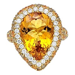 18K Gold Ring with Pear Shaped 0.83 Carat Citrine, Corund and Brown Diamonds