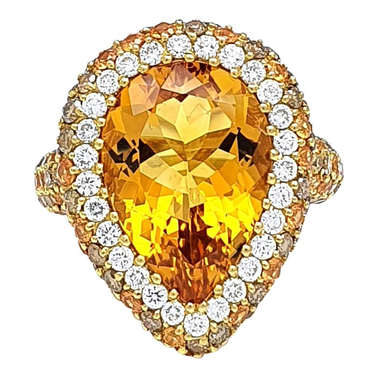 18K Gold Ring with Pear Shaped 0.83 Carat Citrine, Corund and Brown Diamonds For Sale