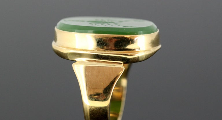 18 Karat Gold Ring with Scorpion / Scorpio Natural Jade Carving For Sale 7