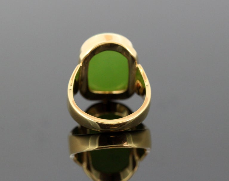 Women's or Men's 18 Karat Gold Ring with Scorpion / Scorpio Natural Jade Carving For Sale