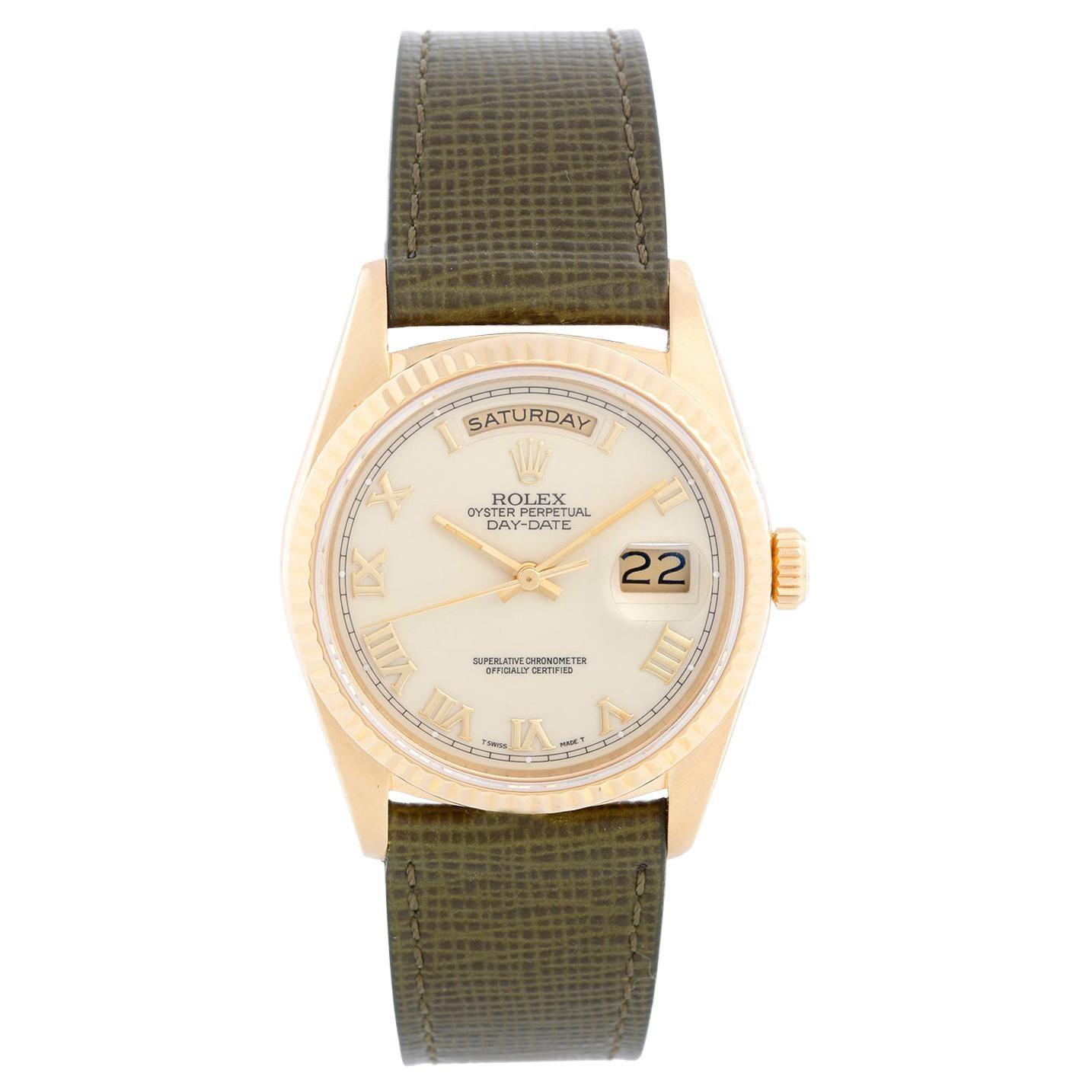18k Gold Rolex President Day-Date Men's Watch 18238 Cream Dial