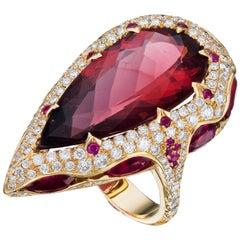 18K Gold Rose 13.51 Carat Rubellite Ruby, Red Tourmaline Diamond Ring