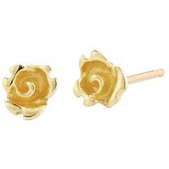 18 Karat Gold Rosebud Stud