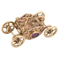 18 Karat Gold Royal Coach Carriage Pendant or Accent Charm for Bracelet