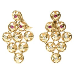 18K Gold, Ruby and Diamond French Chandelier Lever Back Pierced Earrings a Pair