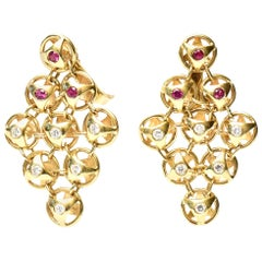 18k Gold, Ruby and Diamond French Chandelier Lever Back Pierced Earrings French