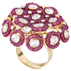 Gold Ruby Beads 18k Gold Uncut Diamond Cocktail Ring