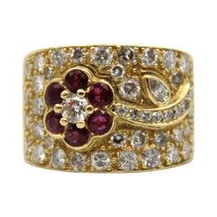18k Gold Ruby Diamond Ring