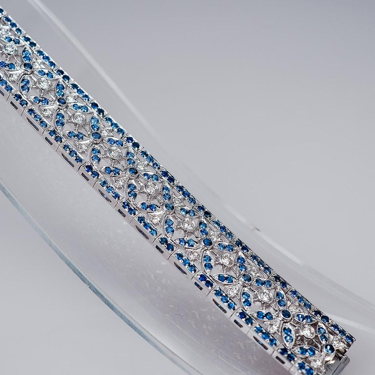 The elegant  sapphire and diamond bracelet which compose of sapphire 7.16 ct and diamond 1.48 ct H VS quality.It is very elegant for party and cocktail time.The sapphire and diamond bracelet is setting stone in very neat detail.You can see the