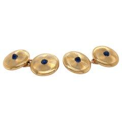 18k Gold Sapphire Cufflinks, French