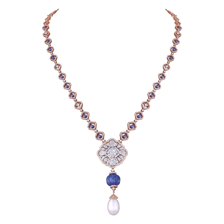 Sapphire Tanzanite Diamond 18k Rose Gold Chain Necklace