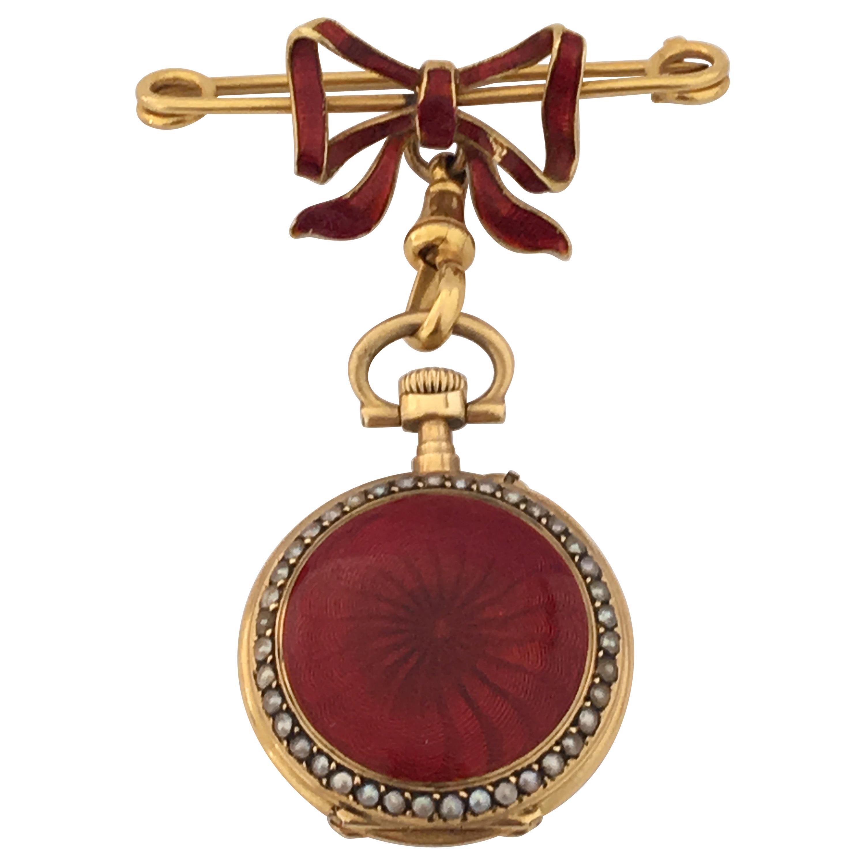 Antique 18k Gold Enamel Diamond Pearl Demi-hunter Womans Nouveau Pendant Watch Ca1920
