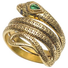 18 Karat Gold Snake Ring with Emeralds and Sapphires