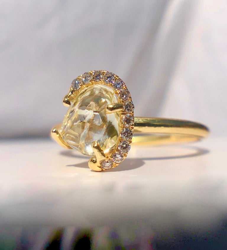 Modern 18k Gold Solitaire Raw Rough Yellow Diamond Engagement White Halo 1.30ct TW Ring For Sale