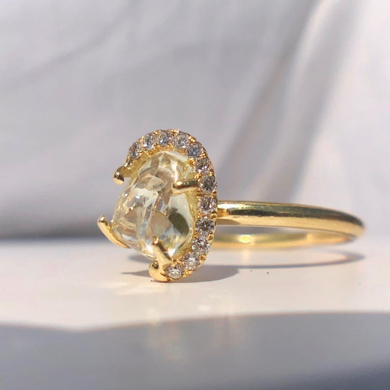 Round Cut 18k Gold Solitaire Raw Rough Yellow Diamond Engagement White Halo 1.30ct TW Ring For Sale