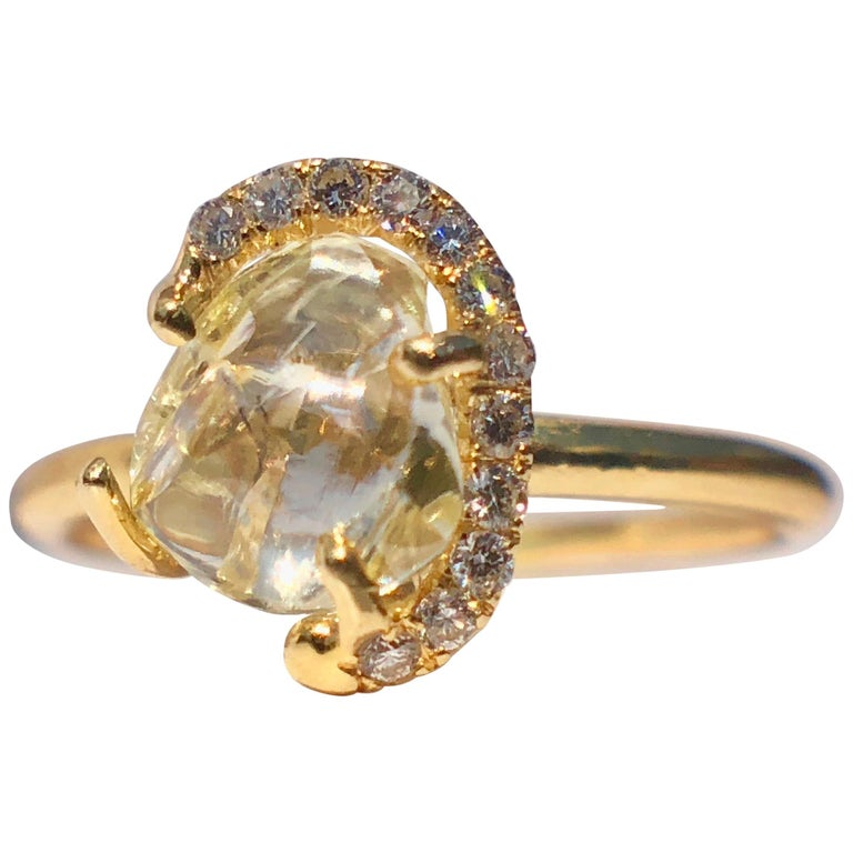 18k Gold Solitaire Raw Rough Yellow Diamond Engagement White Halo 1.30ct TW Ring For Sale