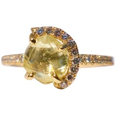 18k Gold Solitaire Rough Diamond Yellow Gold White Brilliant Cut Halo 1.75ct TW