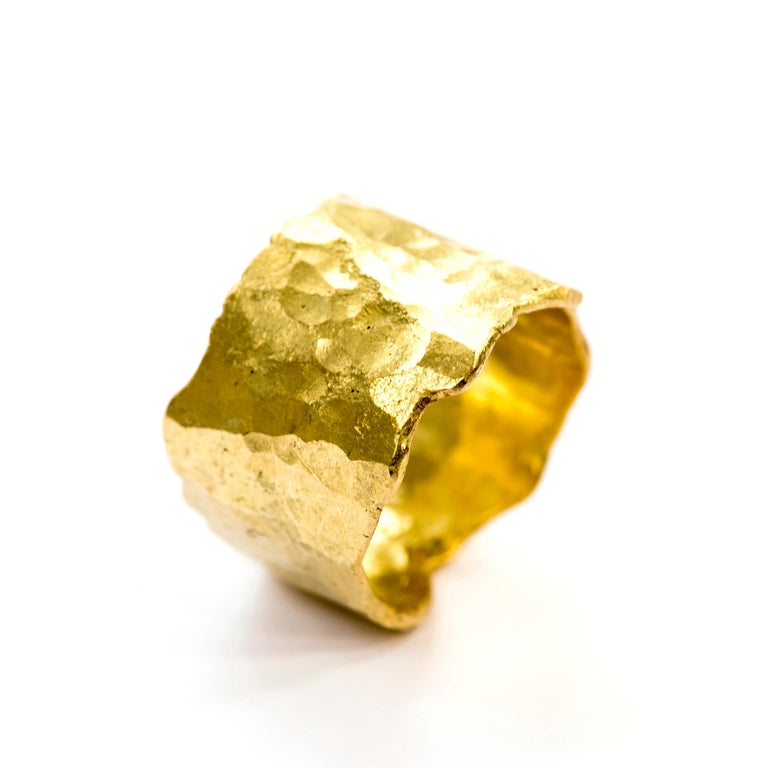 Contemporary 18 Karat Gold Textured Wide Ring Handmade by Disa Allsopp For Sale