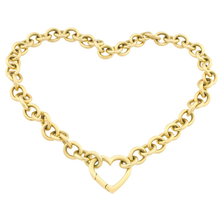 18K Gold Tiffany & Co. Heart Link Necklace For Sale