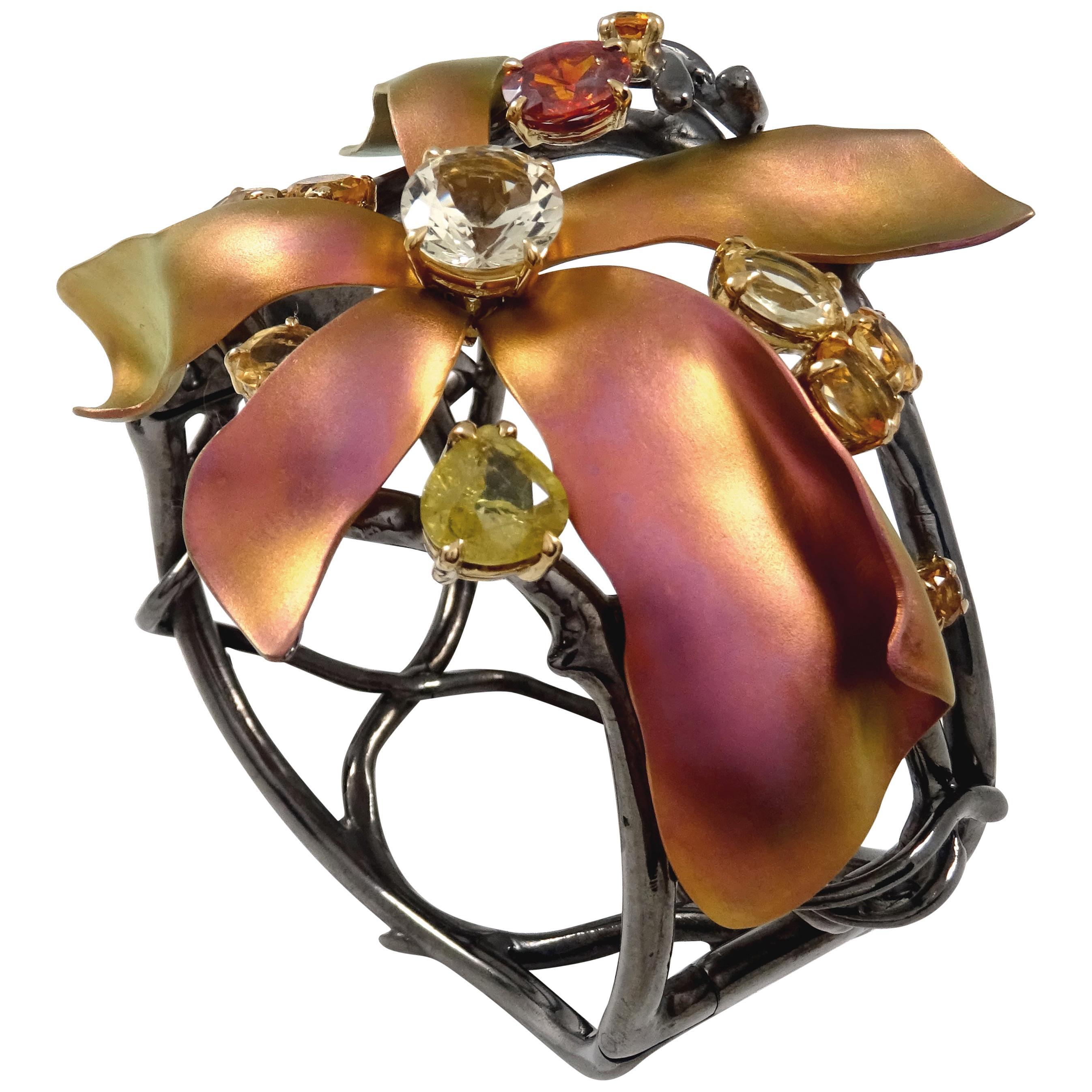 18k Gold Pink Titanium Black Silver Garnet Sphene Andesine Citrines Bracelet