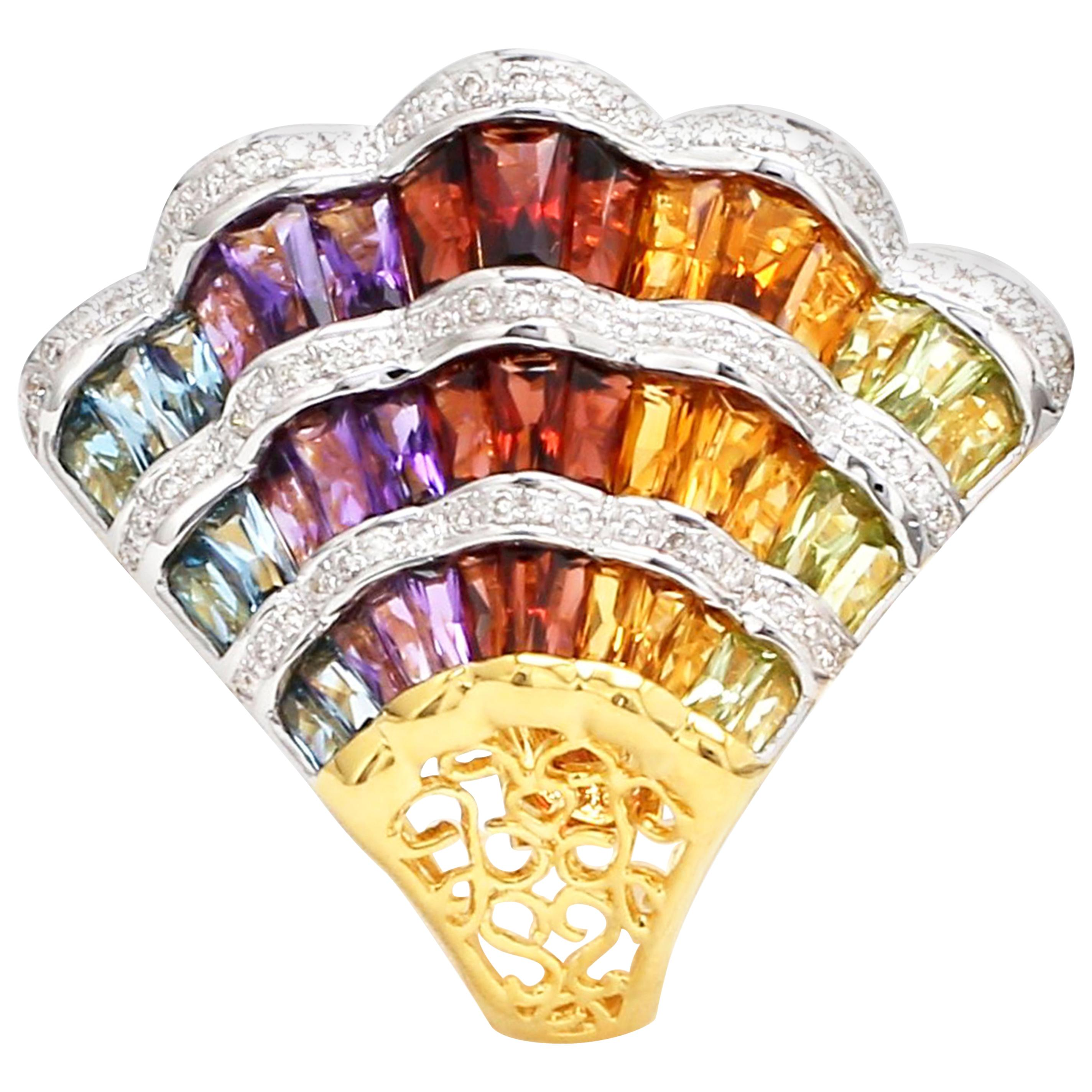 18K Gold Topaz Amethyst Garnet Citrine Peridot Multi-Color Rainbow Cocktail Ring