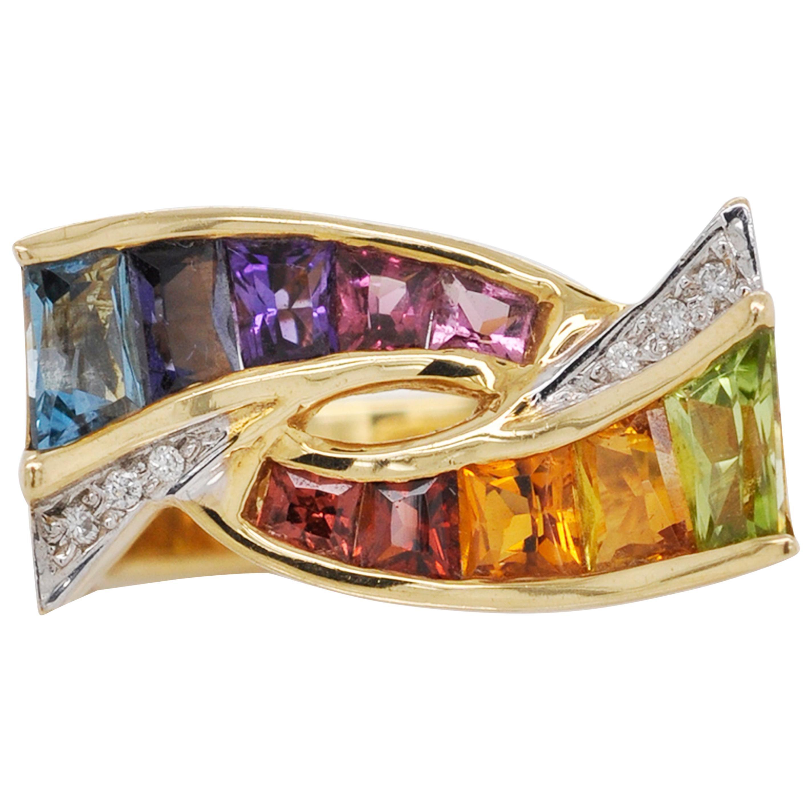 18K Gold Topaz Amethyst Garnet Citrine Peridot Rhodolite Multicolor Rainbow Ring