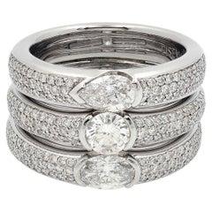 18k Gold Triple Stacked Fancy Shape Diamond Ring