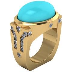 18 Karat Gold Turquoise Ring 1.05 Carat of G VS1 Diamonds Cocktail Ring