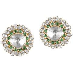 18 Karat Gold, Uncut Diamond and Emerald Earrings Stud Made in India